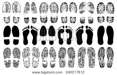 Footprints Human Shoes Silhouette, Vector Set, Isolated On White Background. Shoe Soles Print. Foot