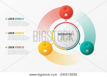 Rotating Circle Chart Template, Infographic Design, Visualization Concept With With 3 Options, Steps