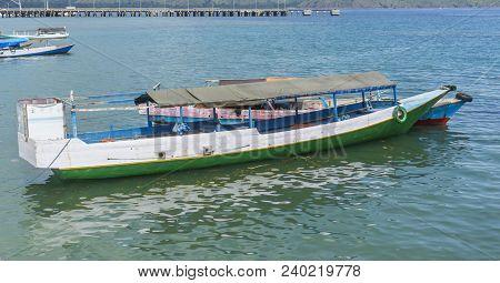 Traditional Boat Anchored At Komodo Island Indonesia