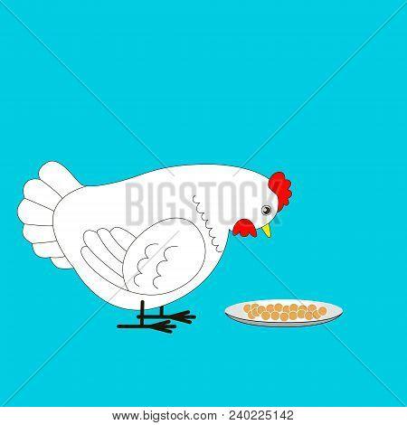 Cartoon White Chicken Is Going To Peck The Grain. Vector Illustration For Children.