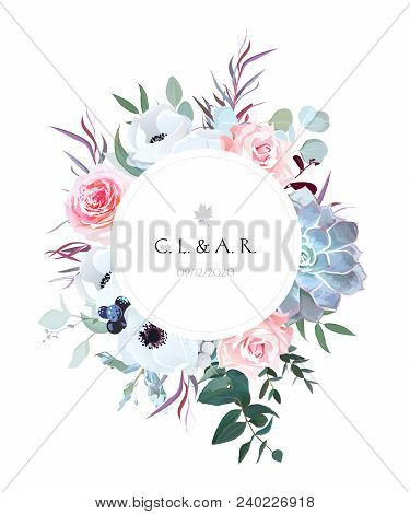 Round Floral Label Frame Arranged From Leaves And Flowers.pink Rose, White Anemone, Black Berry, Bru