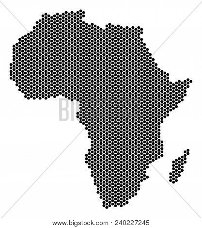 Honeycomb Africa Map. Vector Geographic Scheme On A White Background. Abstract Africa Map Collage Is