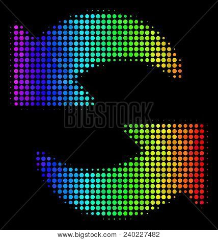 Pixel Bright Halftone Refresh Icon Drawn With Spectral Color Tones With Horizontal Gradient On A Bla