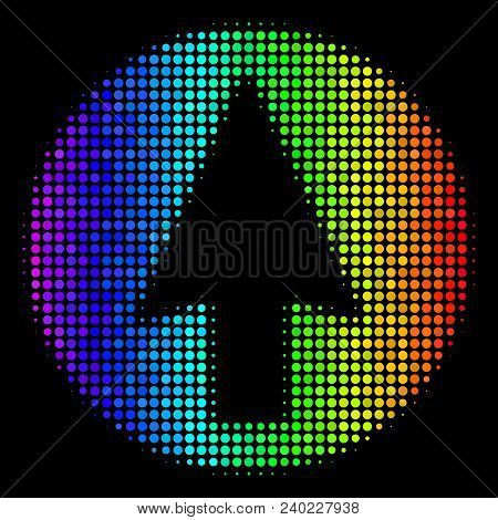 Dotted Bright Halftone Rounded Arrow Icon Using Rainbow Color Tones With Horizontal Gradient On A Bl