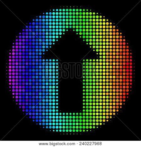 Dotted Bright Halftone Rounded Arrow Icon In Spectral Color Hues With Horizontal Gradient On A Black