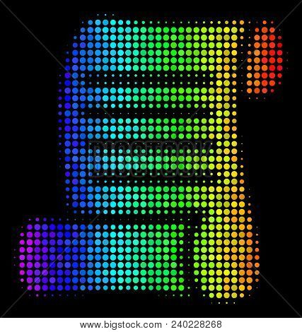 Dotted Impressive Halftone Script Roll Icon In Rainbow Color Shades With Horizontal Gradient On A Bl