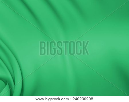 Beautiful Green Satin Fabric For Drapery Abstract Background. Color Silk.