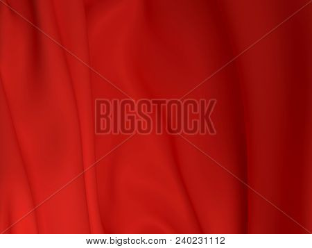 Beautiful Red Satin Fabric For Drapery Abstract Background. Color Silk.