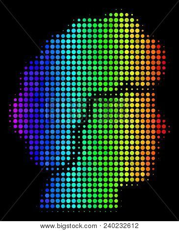 Pixelated Colorful Halftone Woman Profile Icon In Spectrum Color Tones With Horizontal Gradient On A