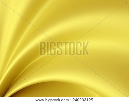 Beautiful Gold Satin For Drapery Abstract Background. Yellow Silk Fabric. 3d Rendering.