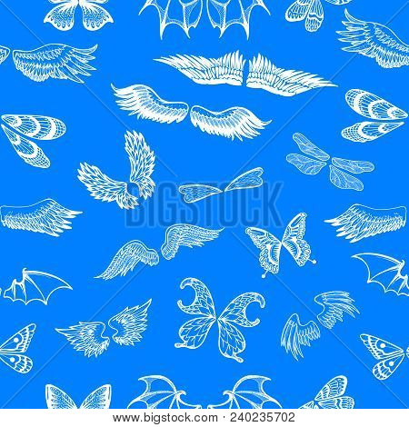 Wings vector flying winged angel with wing-case of bird and butterfly with wingspan illustration black wing-beat tattoo silhouette set seamless pattern background. poster