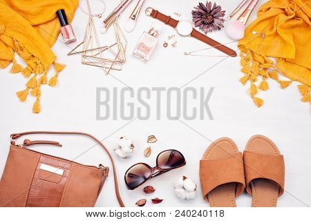 Summer Style. Fashion Summer Girl Clothes Set, Accessories. Trendy Sunglasses, Slippers, Handbag Clu