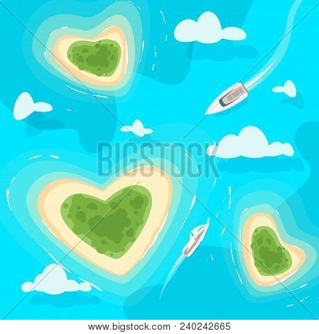 Vector Cartoon Style Background With Tropical Paradise Sea Shore Heart Shaped Island In The Azure Co