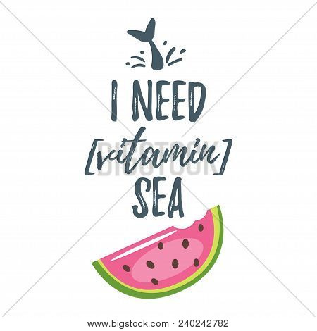 Vector Cartoon Style Summer Design For Season Postcard Or Poster Background With Slice Of Watermelon