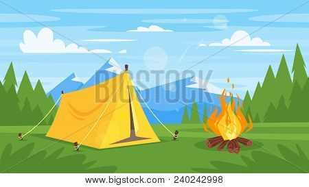 Vector Cartoon Style Background With Rocky Mountains, Forest, Camp Fire And Tourist Tent.