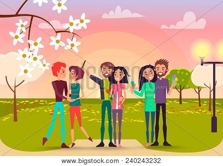 Three Pair With Rose And Ice Cream In Spring Park Vector Illustration. Enamored Happy People Makes S