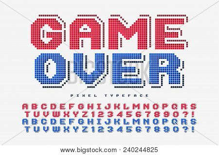 Pixel Vector Font Design, Stylized Like In 8-bit Games. 2 In 1, Retro-futuristic, Game Over Sign. Sw