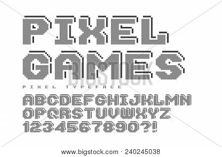 Pixel Vector Font Design, Stylized Like In 8-bit Games. High Contrast, Retro-futuristic, Game Over S