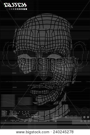 Glitch Screen. Head, Face Of A Man In The Style Of The Screen Of Error. Test Screen Glitch Texture,