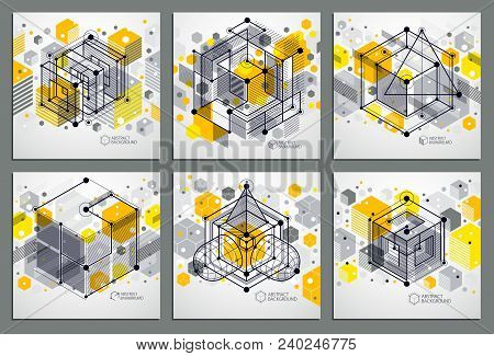 Geometric Technology Vector Yellow Drawings Set, 3d Technical Backdrop. Illustration Of Engineering