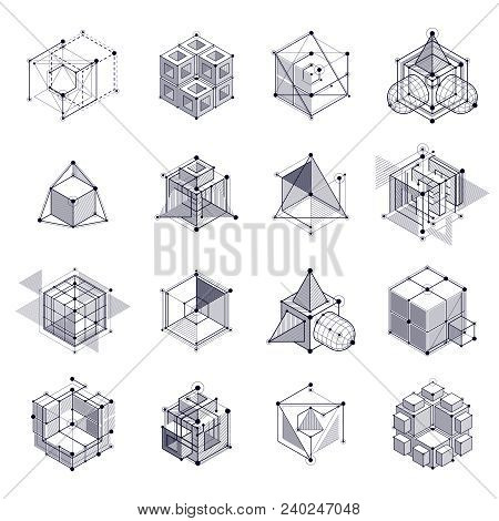 Engineering Technology Vector Black And White Backdrops Set Made With 3d Cubes And Lines. Engineerin