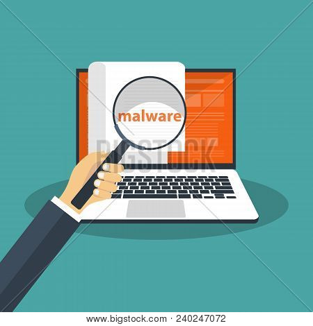 Document with malware in laptop. Concept of virus, piracy, hacking and security. Website banner of e-mail protection, anti-malware software. Flat vector illustration. poster