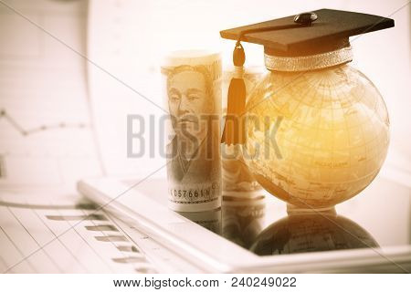 Graduate Study Abroad Concept, Graduation Cap On Top Earth Globe Model Map On Laptop With Radar And