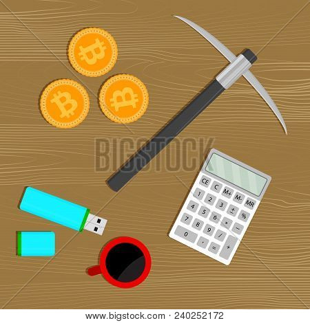 Mining Bitcoin Concept. Tools For Mine. Calculator And Pickaxe, Cup Of Coffee And Gold Coin Currency