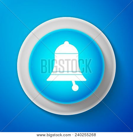 White Ringing Bell Icon Isolated On Blue Background. Alarm Symbol, Service Bell, Handbell Sign, Noti