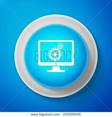 White Monitor And Gears Icon Isolated On Blue Background. Monitor Service Concept. Adjusting App, Se