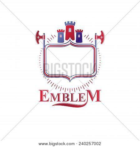 Ancient Bastion Emblem. Heraldic Vector Design Element With Sharp Hatchets. Retro Style Label, Heral