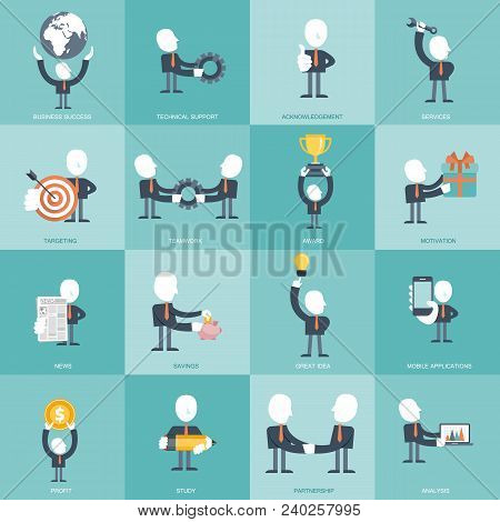 Human Resources And Management Icon Set. Business, Management And Finances Icon Set. Flat Vector Ill