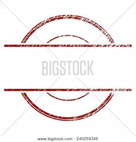 Circle Stamp Frame Distress Textured Template. Vector Draft Element With Grainy Design And Corroded