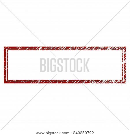 Double Rectangle Frame Distress Textured Template. Vector Draft Element With Grainy Design And Distr
