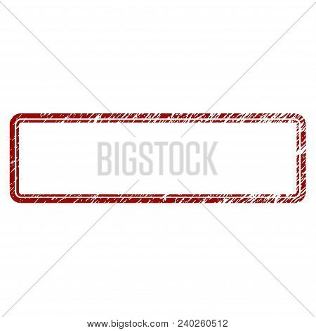Double Rounded Rectangle Frame Distress Textured Template. Vector Draft Element With Grainy Design A