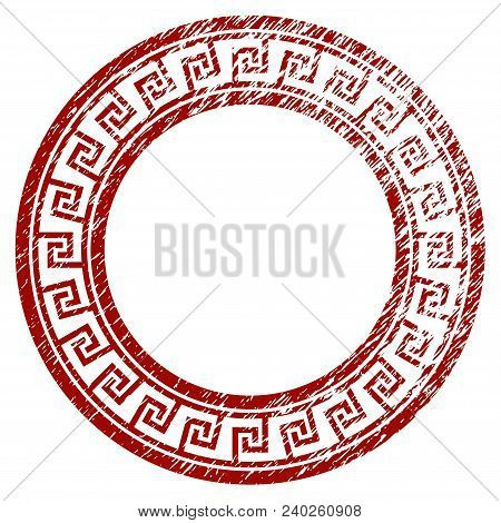 Greek Classic Round Frame Distress Textured Template. Vector Draft Element With Grainy Design And Di