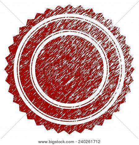Round Rosette Seal Distress Textured Template. Vector Draft Element With Grainy Design And Distresse