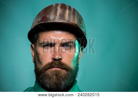 Male Builder. Portrait Of Mechanical Worker. Close Up Engineers Working. Close Up Man In Suit With C