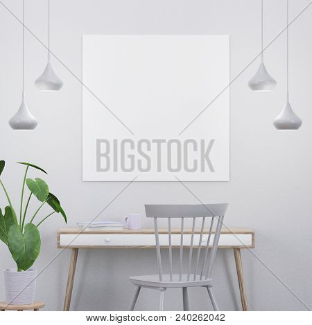 Mockup Poster In A Modern Interior With A Console, A Chair And A Plant, 3d Render
