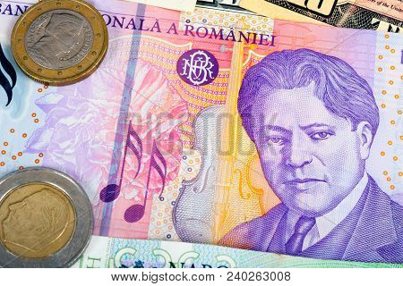 Romania Foreign Currency Closeup Of Money International Currencies