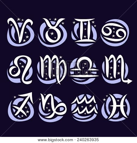 Vector Set Of Zodiac Signs, Collection Of 12 Astrology Calligraphic Symbols With Stars For Predictin
