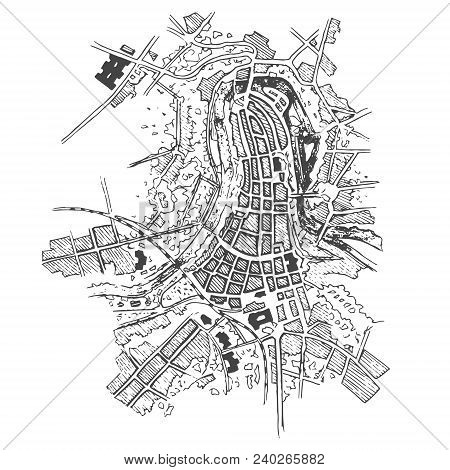 Urban Plan Of A City, Old Village. Doodle City Map. Vector City Drawing. Futuristic Megalopolis City