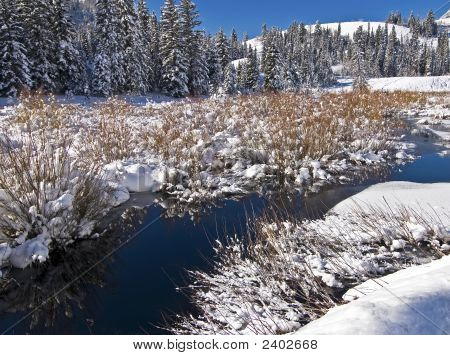 Mountain Stream With Snow Cover In Winter
