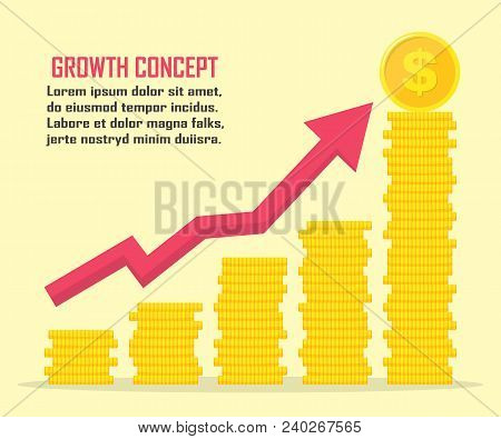 Dollar Growth Concept. Dollar Revenue Illustration. Stacks Of Gold Coins Like Income Graph With Doll