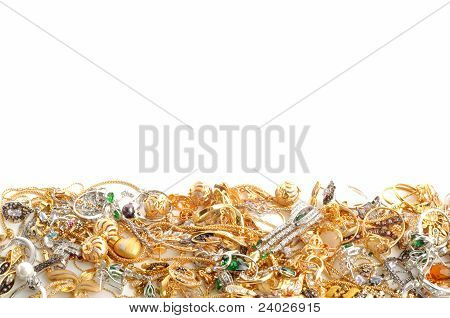 Fashion jewelry framework on a white background poster