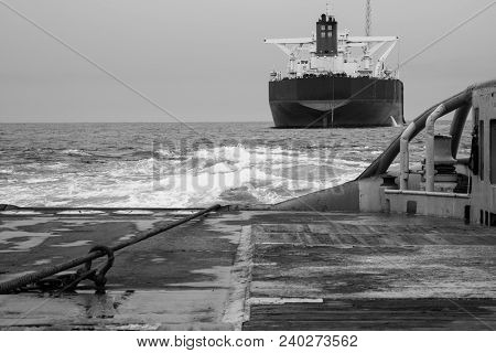 Bw Black And White View Of Anchor-handling Tug Supply Ahts Vessel During Dynamic Positioning Dp Oper