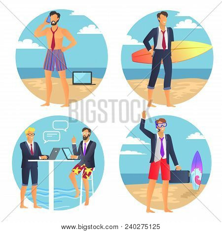 Business Summer Poster, Businessman With Suitcase, People Chatting Near Laptop, Man Talking On Phone