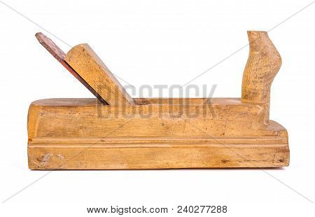 Used Wooden Hand Plane On White Background