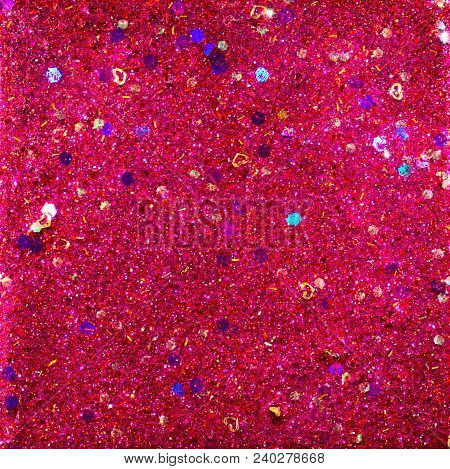 Abstract Glitter Design With Red And Purple Glitter, Gold Hearts And Holographic Chunky Pieces For A
