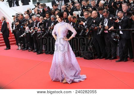 Mallika Sherawat  attends the screening of 'Sorry Angel' during the 71st annual Cannes Film Festival at Palais des Festivals on May 10, 2018 in Cannes, France